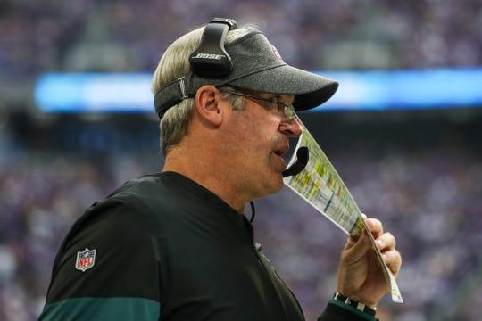Philadelphia Eagles head coach Doug Pederson looks on during the fourth quarter against the Minnesota Vikings at U.S. Bank Stadium in Minneapolis on Sunday, Oct. 13.