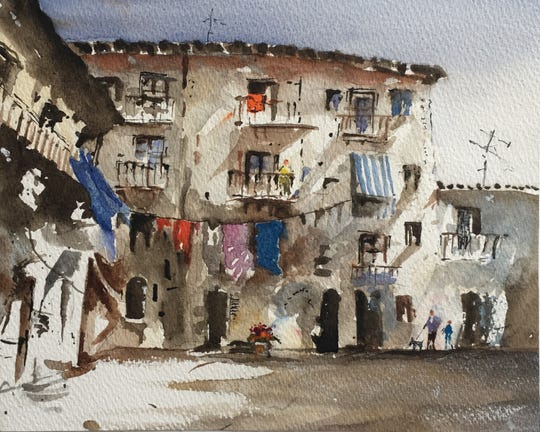 "Judges Choice ""Wash Day"" is an original watercolor that will be up for auction at the 2019 Mystery Art Fest Exhibit & Sale on Friday Oct 28 at Kemp Center for the Arts's NorthLight Gallery"