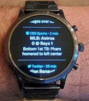 How CBS Sports appears on the Fossil Gen 5 smartwatch