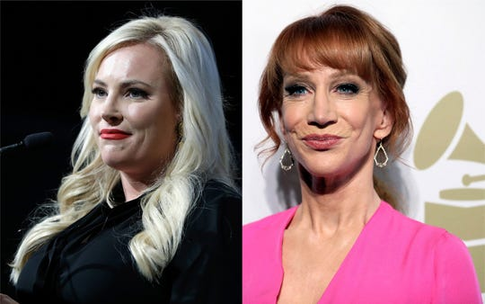 Meghan McCain and Kathy Griffin denounced a fake video edited to depict President Donald Trump shooting multiple critics, including media outlets, politicians and entertainers. Among them, Griffin and McCain's late father, John.