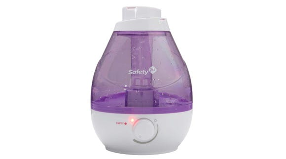 The Safety 1st Cool Mist Ultrasonic Humidifier comes with two mist outlets that rotate in a circle for full coverage.