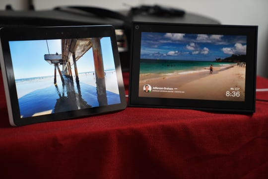 Amazon Echo Show (left) and Facebook's Portal (right) back to back. Both have 10 inch screens.