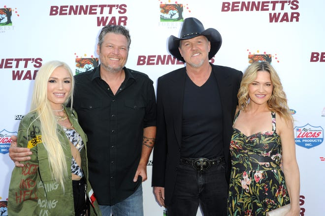 "Gwen Stefani (from left), Blake Shelton, Trace Adkins and Victoria Pratt attend the Los Angeles premiere of ""Bennett's War"" on Aug. 13, 2019."