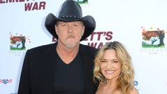 "Trace Adkins and Victoria Pratt attend ""Bennett's War"" Los Angeles Premiere at Warner Bros. Studios on August 13, 2019, in Burbank, California."