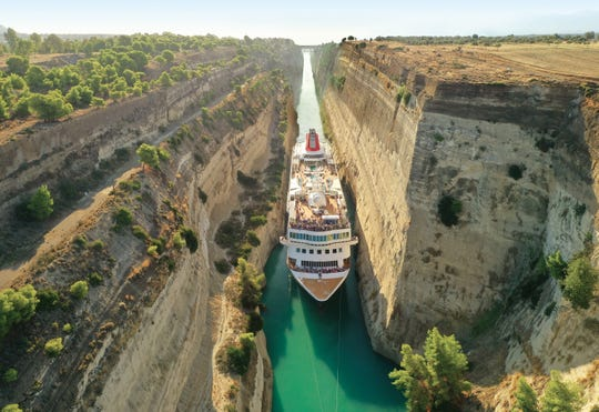 The MS Braemar is about 74 feet wide; the Corinth Canal is about 79 feet wide at its narrowest point.