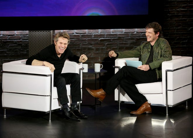 "Willem Dafoe, left, and Pedro Pascal speak during filming of ""Inside the Actors Studio"" at Schimmel Center on May 13 in New York City."