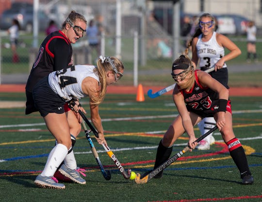 Point Pleasant Boro field hockey vs Jackson Memorial in SCT quarterfinal game in Point Pleasant Borough NJ on October 15, 2019.