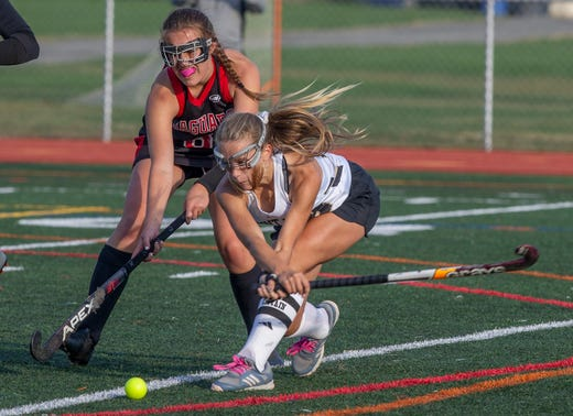 Point Pleasant Borough Jordan Carr uses back of her stick to score one of her two goals. Point Pleasant Borough field hockey vs Jackson Memorial in SCT quarterfinal game in Point Pleasant Borough NJ on October 15, 2019.