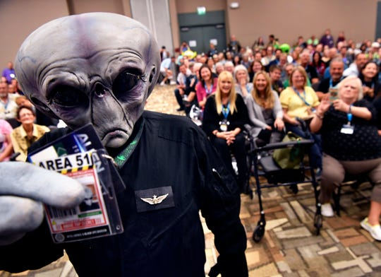 Harry McClintock, of Sanger came to the AlienCon Dallas cosplay contest as an Area 51 escapee Oct. 5.