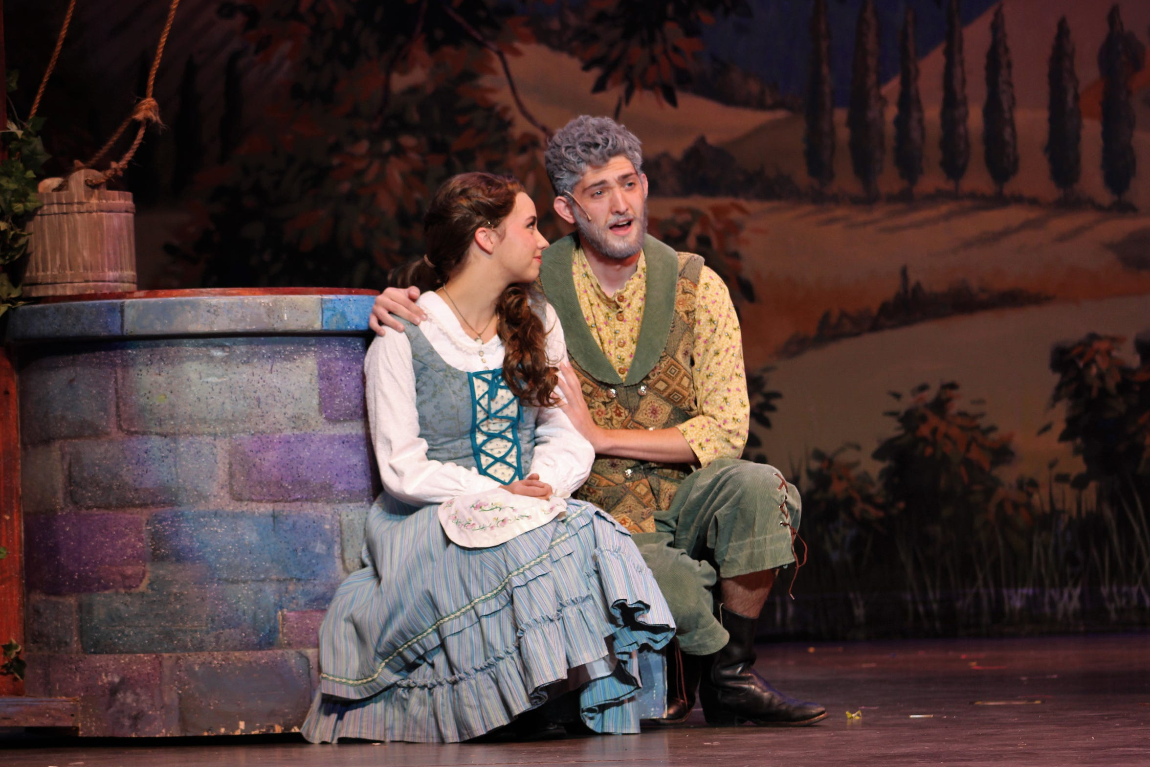 """Belle (Lauren McDonald) and her father Maurice (Mitchell Bradford) sing about their bond in ACU's production of """"Beauty and the Beast."""""""