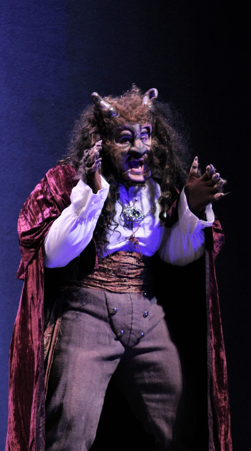 "Richard Gomez is Beast, a prince cursed unless he can love and be loved in Abilene Christian University's production of ""Beauty and the Beast."""