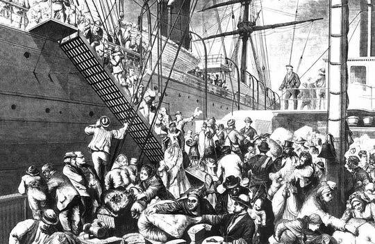 German immigrants boarding a ship for America.