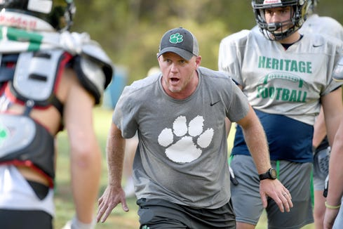 Mountain Heritage head coach Joey Robinson runs practice at the school in Burnsville on Oct. 9, 2019.