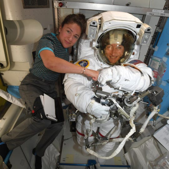 NASA astronauts Jessica Meir, left, and Christina Koch, right, have been tasked with replacing a faulty ISS power unit. It will mark the first all-female spacewalk.
