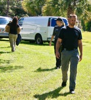 Palm Bay Police Sgt. Jeff Spears leaving the scene of Tuesday's dig for Brandy Hall's remains.