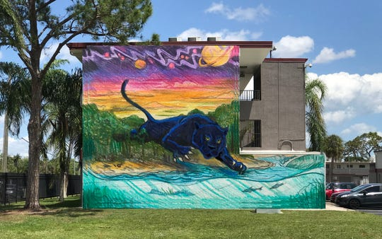 This Florida Tech panther mural is slated for the south wall of Building M of the Southgate Apartments.