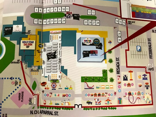 A map of Buccaneer Days shows the carnival grounds will move near the American Bank Center from April 30 to May 10, 2020.