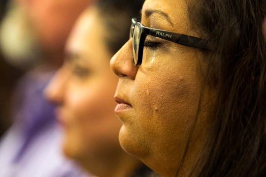 "Jana Guerra, quality assurance director, Nueces Center for Mental Health and Intellectual Disabilities begins to cry as a partnership between Nueces County and the Meadows Mental Health Policy Institute to conduct a county-wide comprehensive mental needs assessment is announced during a press conference on Tuesday, October 15, 2019 at the Nueces County Commissioner's Court. ""Working in the mental health field I find it important that what is happening is coming to the forefront,"" she said."
