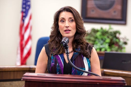 Nueces County Judge Barbara Canales announces a partnership with the Meadows Mental Health Policy Institute, which will conduct a countywide comprehensive mental needs assessment, during a press conference on Tuesday, October 15, 2019.