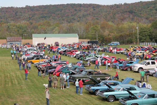 The antique car show at the Fall Festival of Leaves.