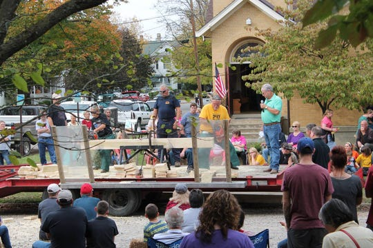 The log sawing event from the Fall Festival of Leaves.