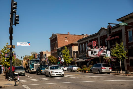 Vehicles travel along State Street in Westerville, Ohio on Tuesday, October 15, 2019 hours before the Democratic Presidential Debate at Otterbein University.