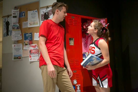 "It's the last day of high school for basketball superstar Joe Marks (R. Graham Rogers) and his cheerleader girlfriend Hannah Winters (Esther Cunningham) in Ensemble Theatre Cincinnati's production of ""Sex and Education."""
