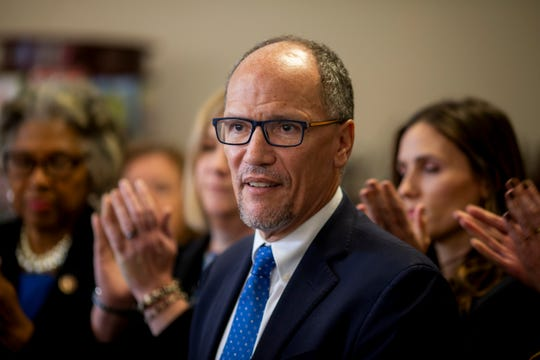 Chair of Democratic National Convention Tom Perez talks to members of the media at a press conference with rising star Democrats at Graeter's in Westerville, Ohio Tuesday, October 15, 2019 before the Democratic Presidential Debate at Otterbein University.