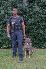 Clarksville Police Officer Keith Jones and his partner, Police Service Dog, Koda