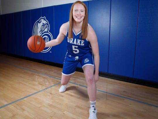 Drake senior guard Becca Hittner poses for a photo on Tuesday, Oct. 15, 2019, during the Drake Women's Basketball team's media day at Knapp Center in Des Moines.