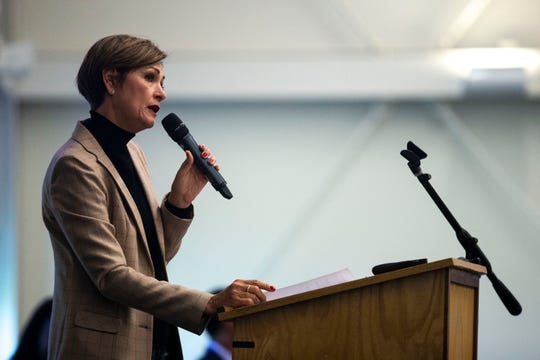 Governor Kim Reynolds announces the Governor's FOCUS committee on criminal justice reform during the 7th annual Iowa summit on justice and disparities on Tuesday, Oct. 15, 2019, in Ankeny. Lt. Governor Adam Gregg will lead the committee.