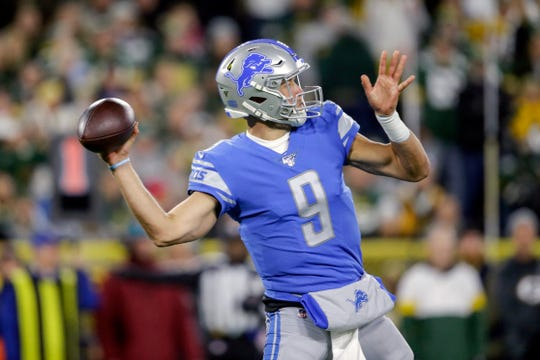 Detroit Lions quarterback Matthew Stafford throws a pass during the first quarter against the Green Bay Packers, Monday, Oct. 14, 2019, in Green Bay, Wis.
