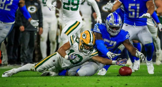Green Bay Packers receiver Darrius Shepherd is unable to recover his fumble of a punt against Detroit Lions linebacker Christian Jones at Lambeau Field, Monday, Oct. 14, 2019, in Green Bay, Wis.