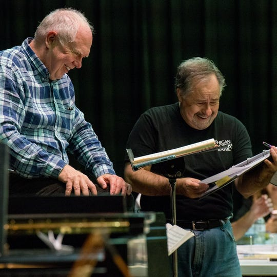 "Conductor Steven Lord and director Michael Albano during rehearsal of ""The Marriage of Figaro.\"""