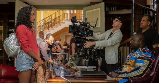 """Steven Soderbergh on the set of """"The Laundromat."""""""