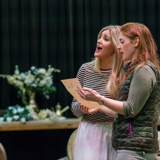 "Michigan Opera Theatre's Julie Adams (Countess Almaviva) and Maeve Hoglund (Susanna) rehearse ""The Marriage of Figaro."