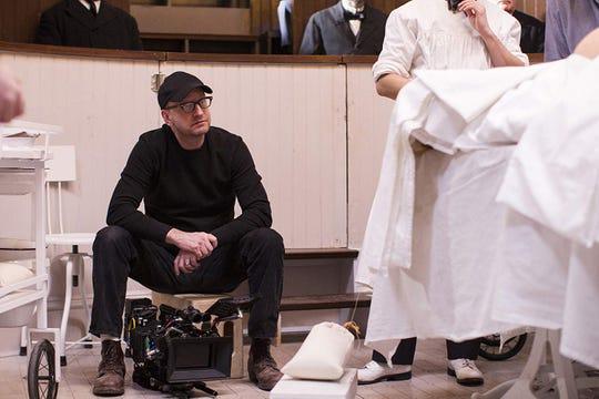 "Steven Soderbergh on the set of ""The Knick."""