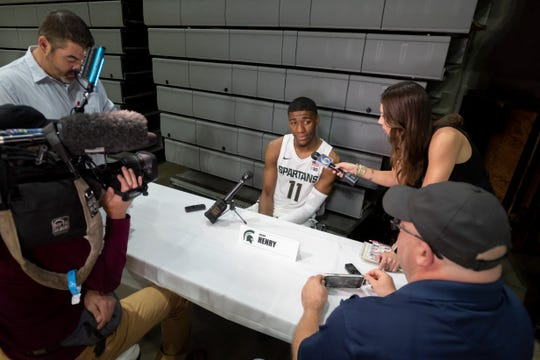 Michigan State forward Aaron Henry answers questions during the basketball team's media day Tuesday at the Breslin Center in East Lansing.
