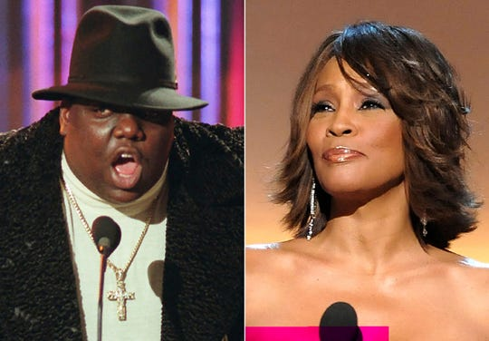 Rapper Notorious B.I.G. and singer Whitney Houston. They are among the 16 acts nominated for the Rock and Roll Hall of Fame's 2020 class.