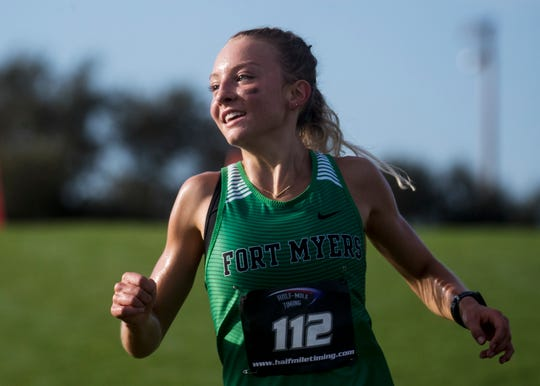 Fort Myers' Stephy Ormsby cruises to the Lee County Athletic Conference cross country title at Century Link Sports Complex in Fort Myers on Tuesday, October, 15, 2019. The Fort Myers High School team won.