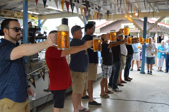 A stein-hoisting contest at the 2017 Oktoberfest