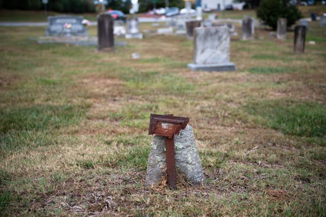 In 1933, a man was lynched and buried in the cemetery at Enoree Fork Baptist Church in Greer. While his exact burial location is unknown, it may be marked by unidentified headstones like this one.