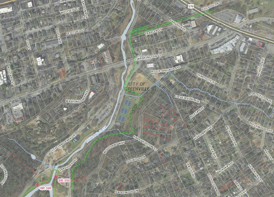How the Laurens Road extension of the Swamp Rabbit Trail will enter Cleveland Park. A loop design down a steep hill into the park will keep the trail at a manageable grade.