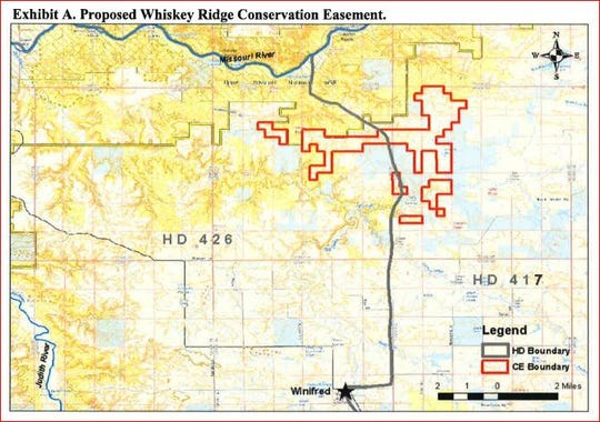 The proposed Whiskey Ridge Conservation Easement lies north of Winifred on the southern edge of the C.M.R. National Wildlife Refuge