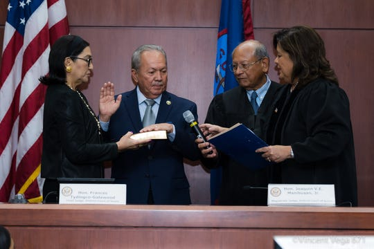 Fernando Sablan, second from left, is sworn in as the U.S. Marshal for Guam and Northern Mariana Islands on Tuesday, Oct. 15, 2019.