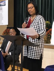 Bobbie Jarrett, executive director of the Housing Authority of Henderson, speaks at a ribbon cutting event for the new EnVision Center (Oct. 15, 2019).