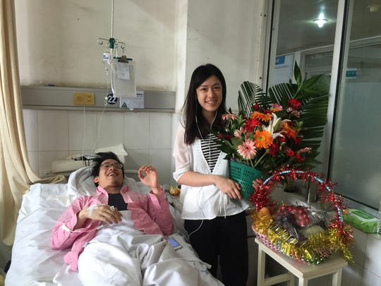 Sharon Lin stayed with her brother Richard as he recovered at a hospital in China after a bus accident.