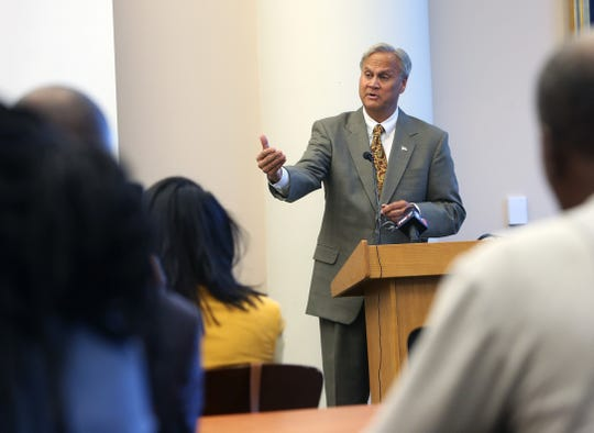 Republican mayoral candidate Jim Merritt answers questions after presenting his black agenda at the Indianapolis' Central Library Tuesday, Oct. 15, 2019.