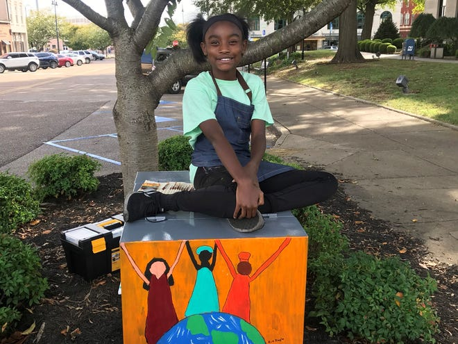 Trinity Christian Academy third grader Ava Ingle painted her winning artwork on the electrical box at the corner of E. Main St. and Liberty St. as part of the mayor's Public Art Initiative.