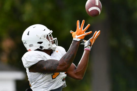 Tennessee wide receiver Jerrod Means (14) during practice on Tuesday, October 15, 2019.